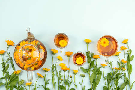 Cups of herbal tea and transparent teapot with calendula flowers on blue background. Calendula Tea Benefits Your Health concept. Top view Flat lay Copy space.