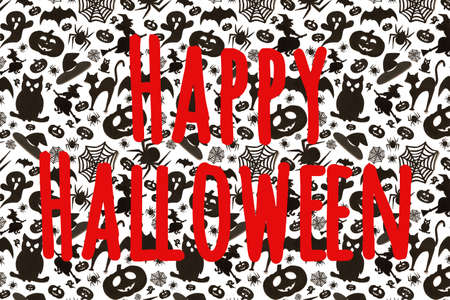 Happy helloween text on abstract holydays pattern in cartoon style on white background. Paper art. Hallowen holiday concept.