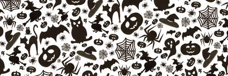 Abstract halloween pattern in cartoon style on white background. Paper art. Happy hallowen holiday concept. Banner. Zdjęcie Seryjne