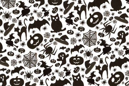 Abstract halloween pattern in cartoon style on white background. Paper art. Happy hallowen holiday concept.