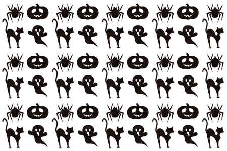 Halloween pattern. Cartoon black collection on white background. Paper art. Happy hallowen holiday concept.