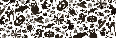 Abstract halloween pattern in cartoon style on white background. Paper art. Happy hallowen holiday concept. Banner. 免版税图像