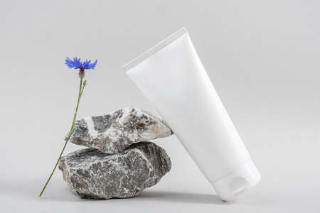 White blank cosmetic bottle tube on stone and blue flower on gray background. Natural Organic Spa Cosmetic Beauty Concept. Front view Mock up.