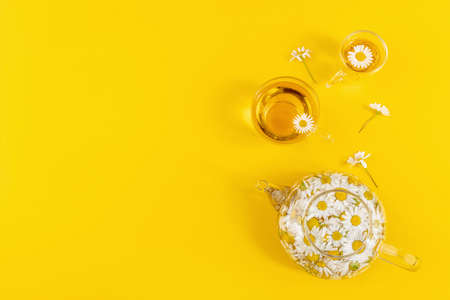 Two cups of tea and transparent teapot with camomile flowers on yellow background. Chamomile Tea Benefits Your Health concept. Top view Flat lay Copy Space.