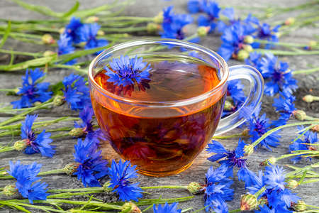 Cup of herbal tea and blue cornflowers flowers on wood background