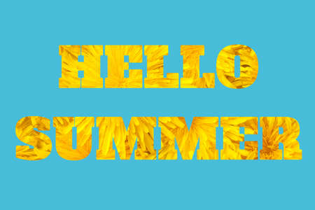 Hello summer, text inscription. The letters from yellow bright dandelions flowers on blue background. Natural abstract background, greeting card. Summertime concept.