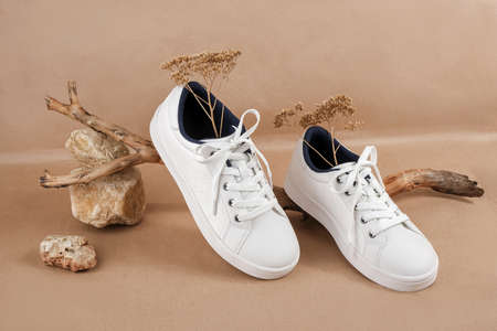 Ethical vegan shoes concept. A pair of white sneakers with dry flowers on the wood and pile of stones, neutral beige craft paper background.