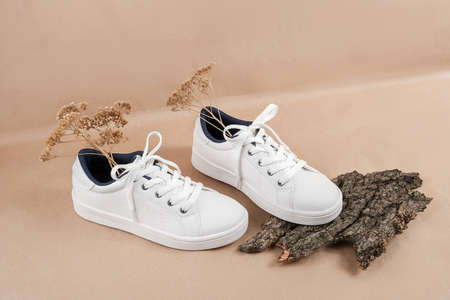 Ethical vegan shoes concept. A pair of white sneakers with dry flowers on tree bark, neutral beige craft paper background. Banco de Imagens