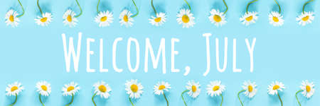 Welcome, July text in frame from chamomile flowers on blue background. Concept Hello summer time. Banner.