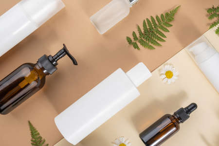 Set of care cosmetics. Various bottles, tubes with cosmetic, chamomile flowers, fern leaves on a beige and brown background. Beauty concept. Top view Flat lay.