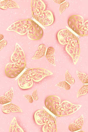 Festive background made with gold tracery illuminating butterflies and with shiny confetti on pink. Holiday concept. Top view Template for your design.