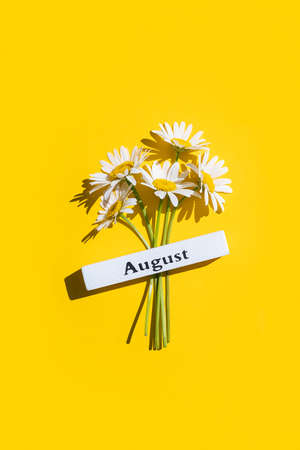 Calendar summer month August and chamomile flowers on yellow background. Top view Flat lay. Minimal concept Hello August. Template for your design, greeting card.
