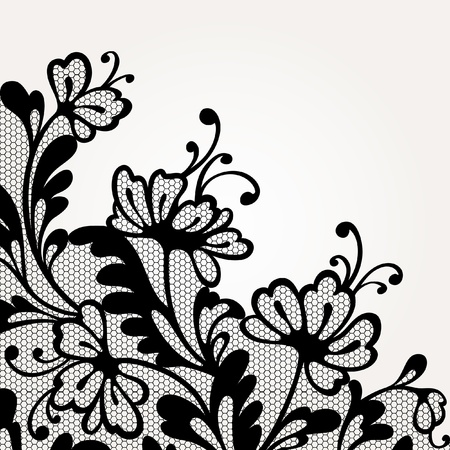 birthday flowers: Black vector lace Illustration