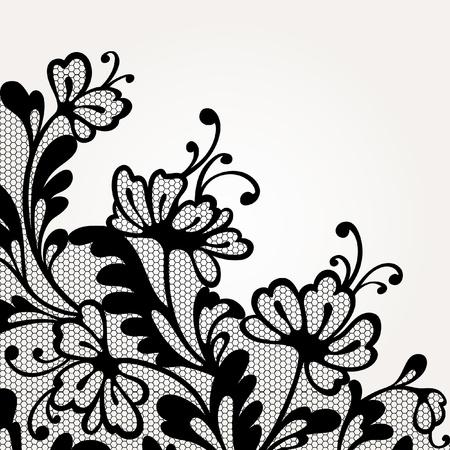 flores de cumpleaños: Encaje vector Negro