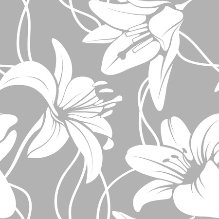 white lilly: Vector lilly seamless pattern