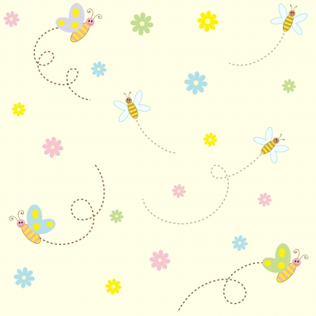 simple girl: Seamless pattern with cute insects and flowers