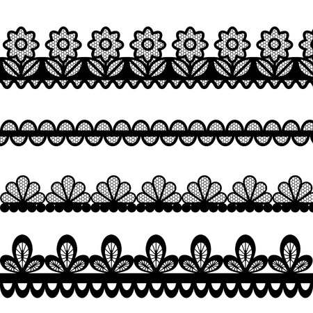 black lace: Set of lace vector borders