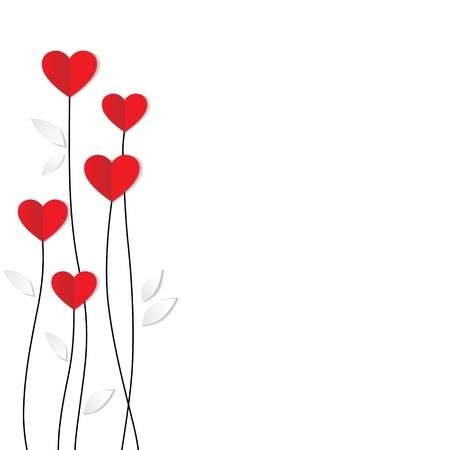 bordures fleurs: Carte de vacances Coeur de papier Valentines day