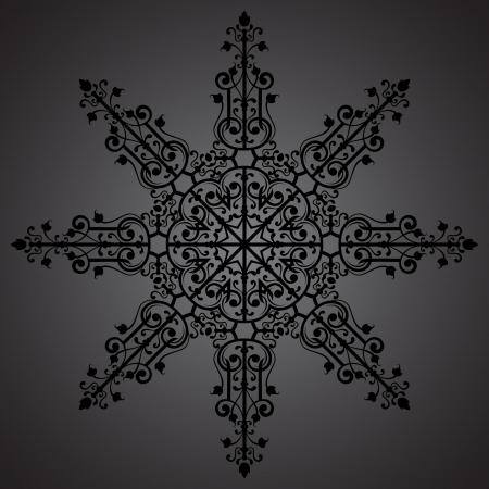 Vintage background ornament, black star Vector