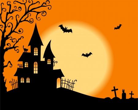 halloween house: Halloween vector card Illustration