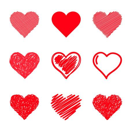 heart shape: Vector hearts set. Hand drawn.