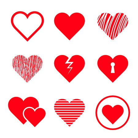 romantic heart: Vector hearts set