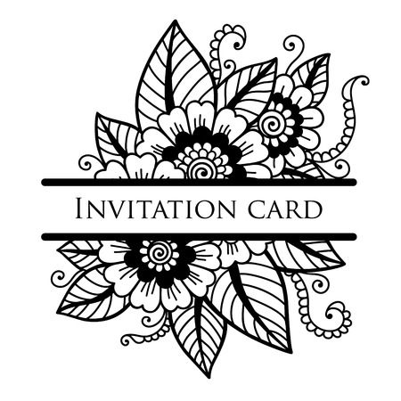 black and white leaf: Vector lace card Illustration