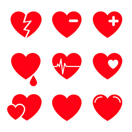 corazon roto: Corazones Vector Icon Set