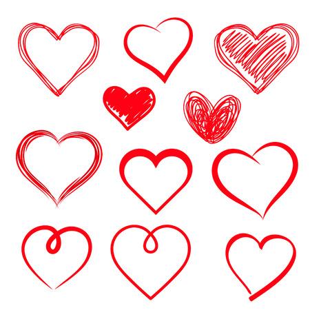 dessin coeur: Coeurs vecteur réglés. Dessiné à la main. Illustration