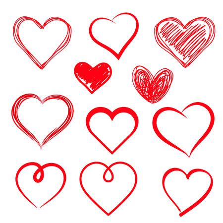 Vector hearts set. Hand drawn. Vector