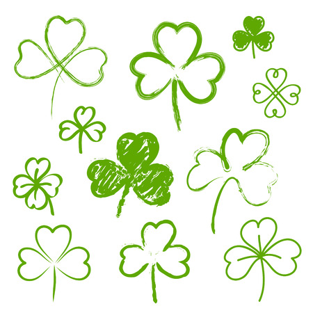 three leaves: Set of hand drawn clovers Illustration