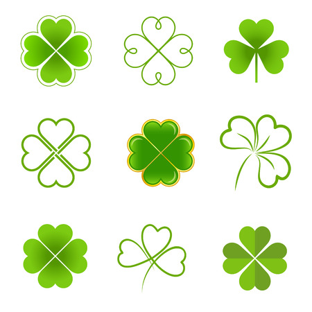 Set of clovers with four and three leaves Vector