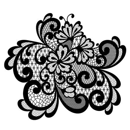 Vector ornament. Black lace ornament.
