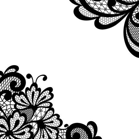 fekete-fehér: Vector dísz. Fekete csipke sarok.