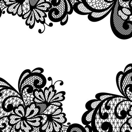Vector ornament. Black lace corner. Vector