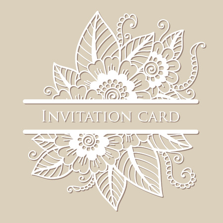 Vector lace card. Flower ornament.