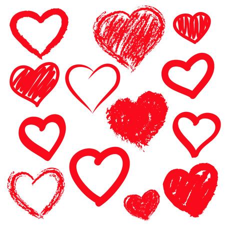 corazon en la mano: Corazones del vector fijadas. Dibujado a mano.