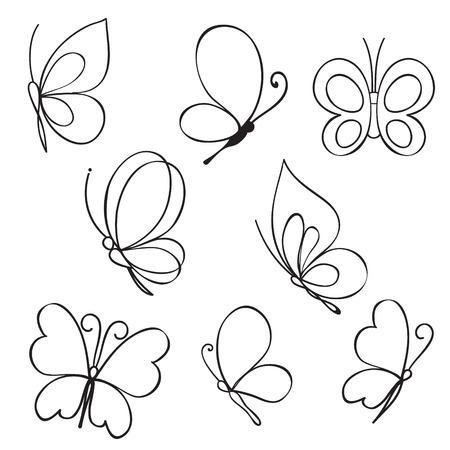 bee on flower: Vector Set of hand drawn butterflies
