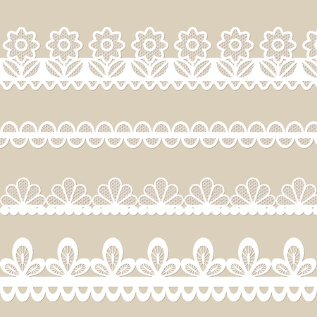 Set of white lace vector borders Vector