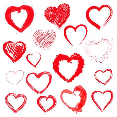 Vector set of Hand drawn hearts Vector