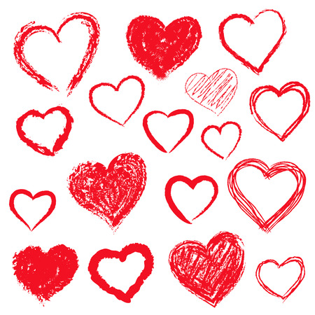 Hand drawn hearts set Illustration