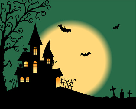 traditional house: Halloween vector card Illustration