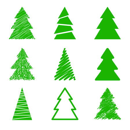 traditional christmas: Set of christmas trees Illustration