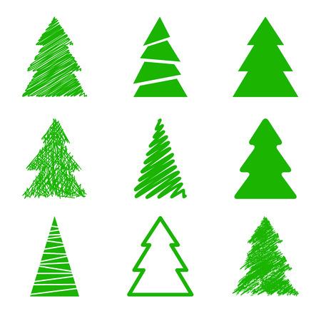 Set van Kerst bomen