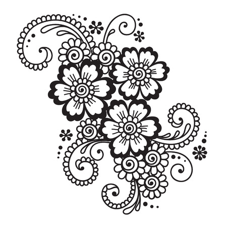 embroidery flower: Hand-Drawn Abstract Henna Mehndi Flower Ornament