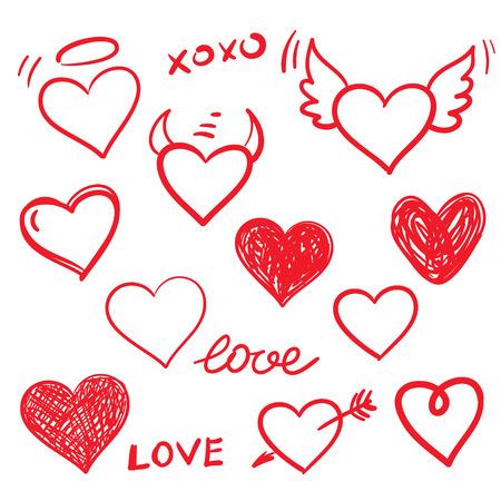 Vector hearts love set. Hand drawn. Vector
