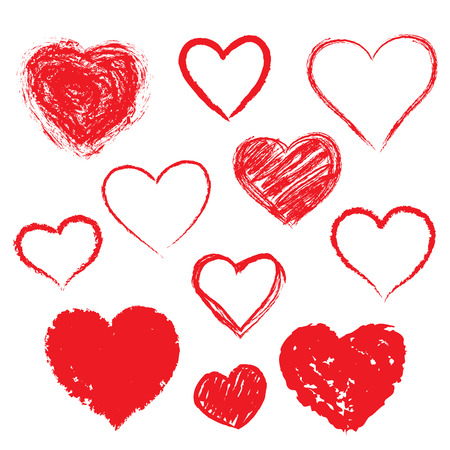 romantic heart: Vector hearts set. Hand drawn.