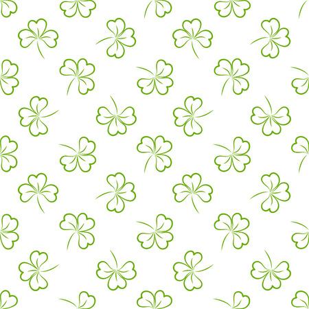 white clover: Seamless Saint Patricks day clover background. Illustration