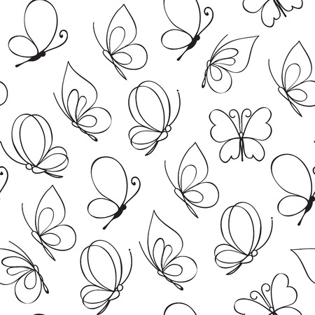 Hand drawn simple butterfly pattern. Vector illustration