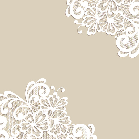 calligraphic: White flower corner, lace ornament